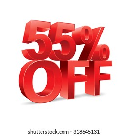 55 percent off Promotional discount on white background