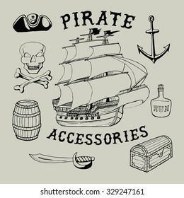 55 Pirate Accessories. Handmade ship, roger, barrel, sword, hat, chest, skull, bottle, bones retro style. Design fashion apparel print. T shirt graphic vintage  vector illustration badge label logo.