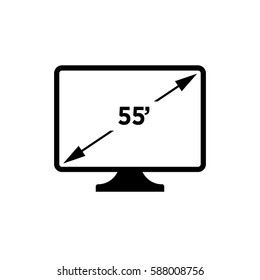 55' resolution.monitor sign. flat icon