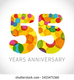 55 th anniversary numbers. 55 years old multicolored logotype. Congrats age greetings, congratulation idea. Isolated abstract graphic design template. Coloured digits up to -55% percent off discount.