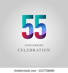 55 Year Anniversary Celebration Vector Template Design Illustration