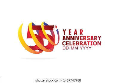 55 Year Anniversary, Red Color Text and Yellow-Orange-Blue Ribbon. Isolated graphic anniversary for banner, greeting card - vector