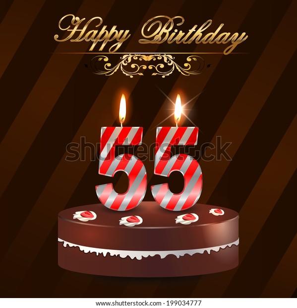 55 Year Happy Birthday Card Cake Stock Vektorgrafik Lizenzfrei