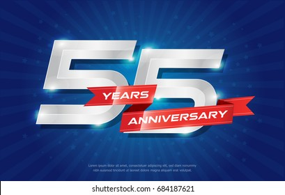 55 years anniversary background with red ribbon and star on blue background. celebrating logotype, poster or brochure template. Vector illustration
