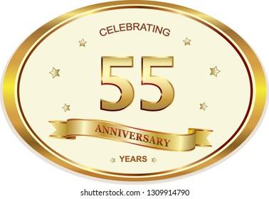 55 Years Anniversary Birthday Celebration Vector Icon Logo Golden DesignVector Illustration