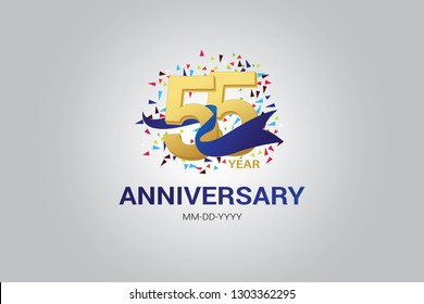55 years anniversary blue ribbon celebration logotype. anniversary logo with golden and Spark light white color isolated on black background, vector design for celebration, invitation card-vector