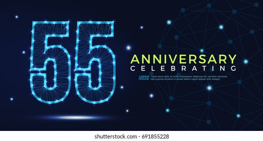 55 years anniversary celebrating numbers vector abstract polygonal silhouette. 55th anniversary concept. technology numbers vector illustration