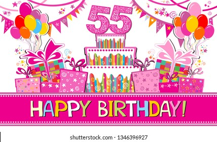 55 years anniversary. Celebration background with number 55, garland,  Birthday cake, balloons and place for your text. Horizontal banner. Greeting, invitation card or flyer. vector illustration