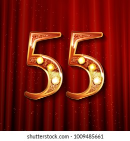 55 years anniversary celebration design with gold color composition. On the background of a red curtain. Vector illustration