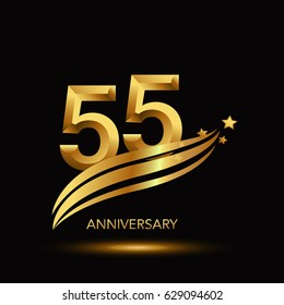 55 Years Anniversary Celebration Design. - gold swoosh and star on black background