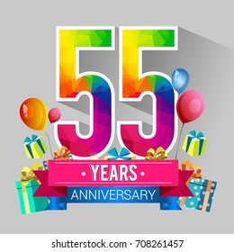 55 Years Anniversary Celebration Design, with gift box and balloons, red ribbon, Colorful polygonal logotype, Vector template elements for your birthday party.