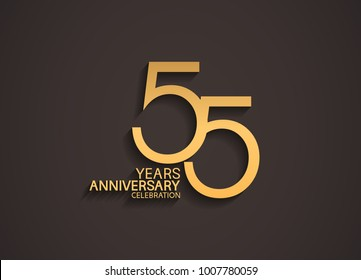 55 years anniversary celebration logotype with elegant gold color for celebration