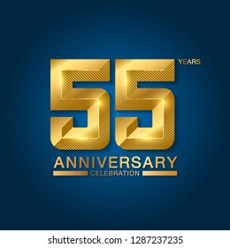 55 years anniversary celebration logotype. Golden anniversary emblem with ribbon. Design for booklet, leaflet, magazine, brochure, poster, web, invitation or greeting card. Vector illustration.