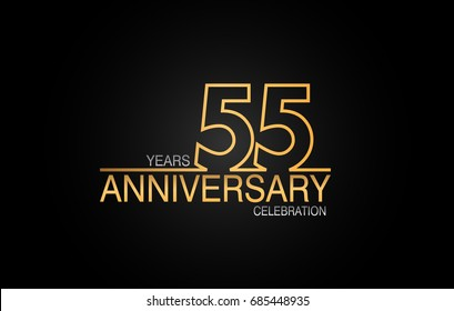 55 years anniversary celebration logotype. anniversary logo with golden and silver color isolated on black background, vector design for celebration, invitation card, and greeting card