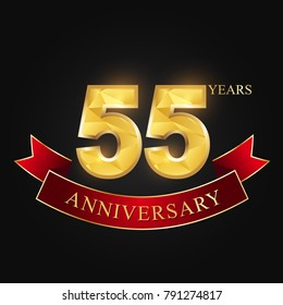 55 years anniversary celebration logotype black background.