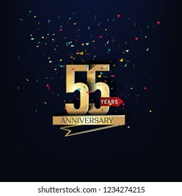55 years anniversary and celebration templates logo design golden and silver with dark blue background