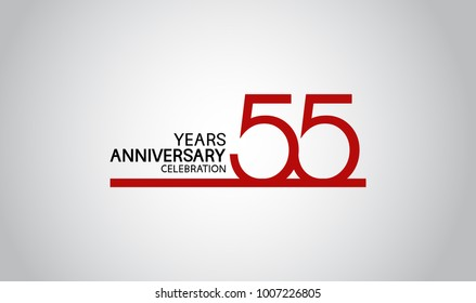55 years anniversary design with simple line red color isolated on white background for celebration
