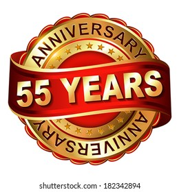 55 years anniversary golden label with ribbon.  Vector illustration.