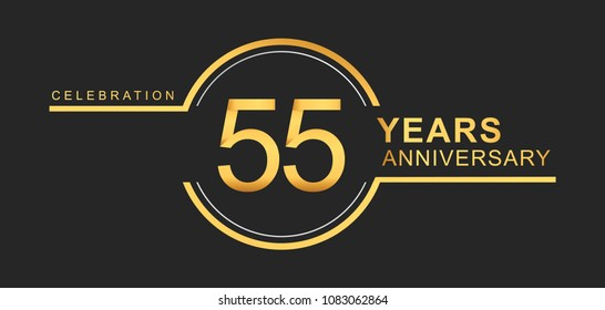 55 Years Anniversary Golden And Silver Color With Circle Ring Isolated On Black Background For