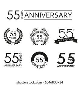 55 years anniversary icon set. 55th anniversary celebration logo. Design elements for birthday, invitation, wedding jubilee. Vector illustration.