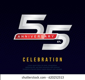 55 years anniversary invitation card, celebration template design, 55th. anniversary logo, dark blue background, vector illustration
