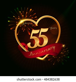 55 years anniversary logo golden colored,with love shape, red ribbon, and fireworks background