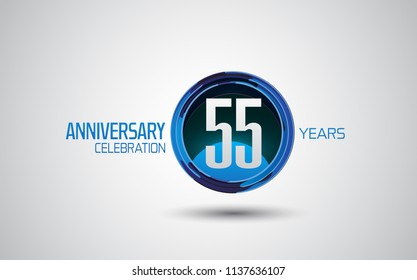 55 years anniversary logotype blue circle abstract isolated on white background for use company celebration event