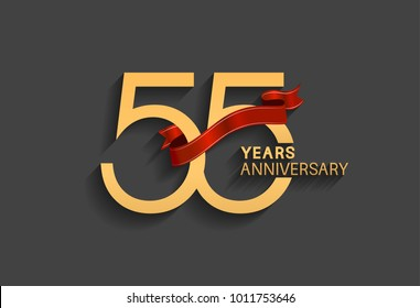 55 years anniversary logotype with red ribbon and golden color for celebration event