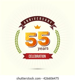 55 Years Anniversary with Low Poly Design and Laurel Ornaments