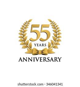 55 years anniversary wreath ribbon logo