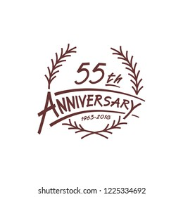 55 years design template. Vector and illustration. 55 years logo.