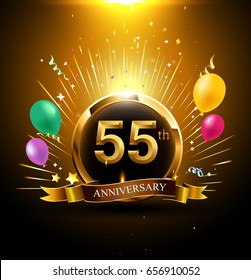 55 Years Golden Anniversary Logo Celebration With Ring Ribbon Firework And Balloon