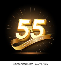 55 years golden anniversary logo celebration with firework and ribbon