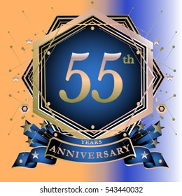 55 years greeting card anniversary with colorful number and frame. logo and icon with circle badge and background