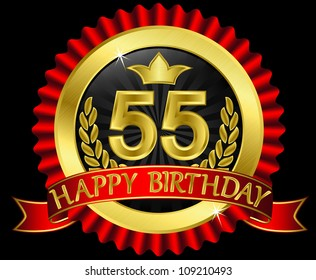 55 Years Happy Birthday Golden Label With Ribbons Vector Illustration