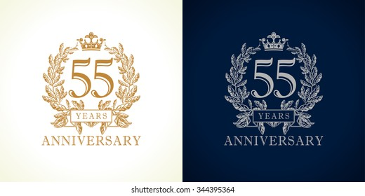 55 years old luxury logotype. Congratulating 55th numbers gold color framed in palms. Heraldic congrats concept. Celebrating tradition fifty five digits. Abstract isolated graphic design template.