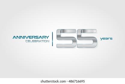 55 years silver anniversary celebration logo, isolated on dark white background