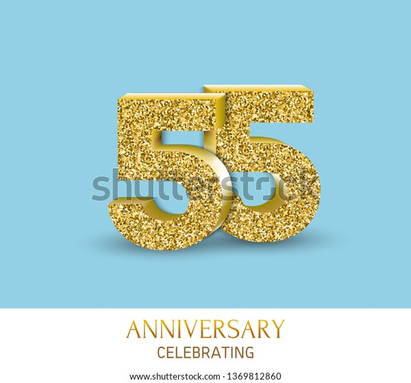 55th Anniversary Card Template 3d Gold Stock Vector (Royalty Free ...