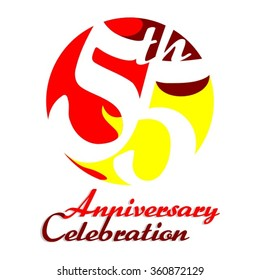 55th Anniversary Celebration - Birthday - Reunion Vector Logo