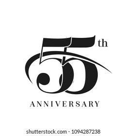 55th Anniversary Celebration simple monogram Design. pictogram vector icon, simple years birthday logo label, black and white stamp isolated