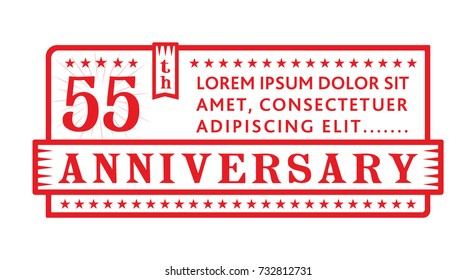 55th anniversary logo. Vector and illustration.