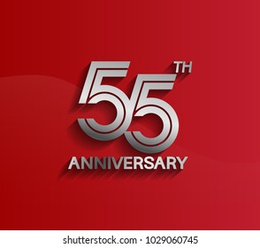 55th anniversary logotype silver color with multiple line style for celebration event
