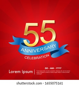 55th years anniversary celebration emblem. anniversary elegance golden logo with blue ribbon on red background, vector illustration template design for web, flyers, greeting card and invitation card