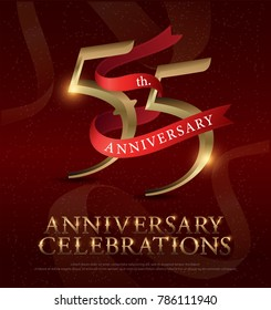 55th years anniversary celebration golden logo with red ribbon on red background. vector illustrator