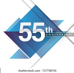 55th years anniversary logo with geometric, vector design birthday celebration isolated on white background.