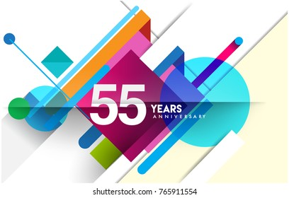 55th years anniversary logo, vector design birthday celebration with colorful geometric isolated on white background.