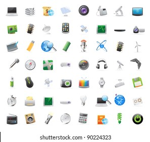 56 detailed vector icons for technology and devices.