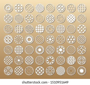 56 Laser cut vector templates. Cutout circle silhouette with ornament. The set is suitable for engraving, laser cutting wood, metal, stencil manufacturing.