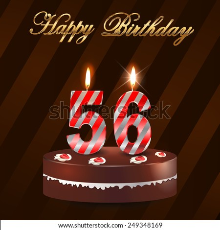 56 Year Happy Birthday Card With Cake And Candles 56th