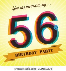 56th Birthday Party Invite Template Design In Retro Style